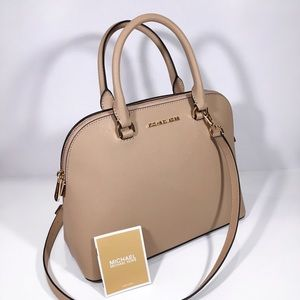 Michael Kors Cindy Leather Dome Satchel Bag Nude
